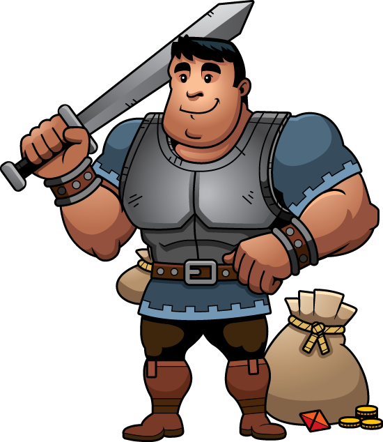 Illustration of big man with sword, by Cory Thoman.