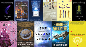 covers of 11 science fiction and fantasy books